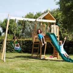 Kingswood Tower climbing frame with swing arm and slide